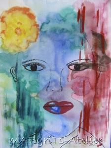 Aquarellbild mit dem Titel Träumerin handgemalt mit Aquarellfarben auf Aquarellpapier direkt von der Künstlerin das Original kaufen