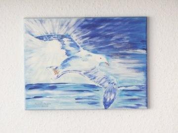 Handgemaltes Acrylbild mit dem Titel Aufschwung gemalt mit Acrylfarben auf Keilrahmen direkt von der Künstlerin kaufen - Handarbeit kaufen