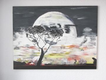 Handgemaltes Acrylbild mit dem Titel Mondschein-Nacht gemalt mit Acrylfarben auf Keilrahmen direkt von der Künstlerin kaufen - Handarbeit kaufen