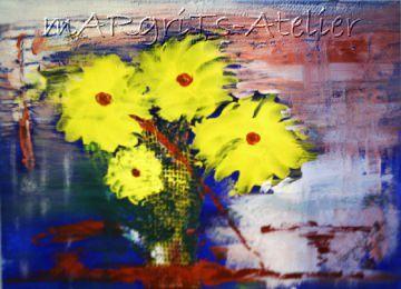 Handgemaltes Acrylbild Collage mit dem Titel Zephir gemalt mit Acrylfarben auf Acrylpapier direkt von der Künstlerin kaufen - Handarbeit kaufen