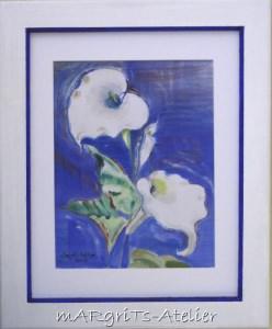 Aquarellbild mit dem Titel Weiße Blütenpracht handgemalt mit Aquarellfarben auf Aquarellpapier direkt von der Künstlerin das Original kaufen