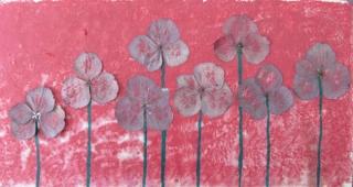 Handgefertigte Acrylbild Collage mit echten Hortensienblüten gemalt und gestaltet auf Pappe direkt von der Künstlerin kaufen - Handarbeit kaufen