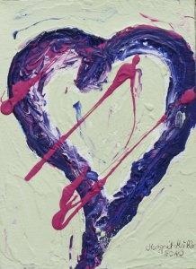 Acrylbild mit dem Titel Einsames Herz ♡ handgemalt  mit Acrylfarben auf Pappe direkt von der Künstlerin das Original kaufen