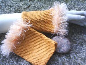 Armstulpen handgehäkelt aus Baumwolle in Orange kaufen