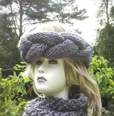 Stirnband handgestrickt und geflochten aus Wolle in Grau kaufen