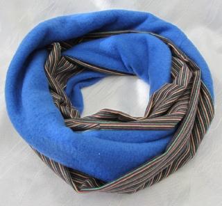 Handgefertigter Rundschal ♡ Schlauchschal ♡ Männerschal genäht aus Fleecestoff in Blau und bunt gestreiften Baumwolljersey kaufen - Handarbeit kaufen