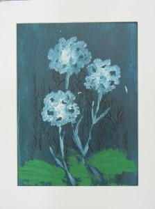 Acrylbild mit dem Titel Blumen in Petrol handgemalt mit Acrylfarben auf Pappe direkt von der Künstlerin das Original kaufen
