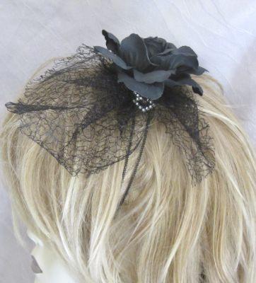 Haarreif Haarschmuck handgemacht in Schwarz für festliche Anlässe oder als Trauerhaarschmuck kaufen