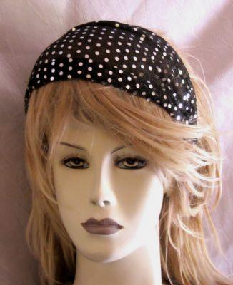 Haarband aus Paillettenstoff handgenäht in Schwarz und Silber kaufen