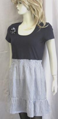 Sommerkleid Gr. 40 handgefertigt aus Baumwolljersey in blau-weiß jetzt günstig kaufen