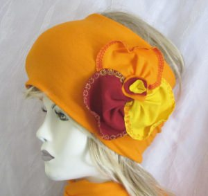 Stirnband ☀ entworfen und handgenäht aus Baumwolljersey in Orange kaufen