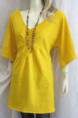 Tunika Gr. 40 ♡ handgenäht aus Baumwolljersey in Gelb jetzt günstig kaufen