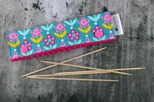 Needle Cozy Blumen Nadelgarage für 15 cm Nadelspielhalter Nadelspieltasche DPN Holder