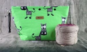 Bobbel-Bag Zebras Projekttasche Handarbeitstasche mit Druckknöpfen