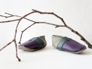 Baby: Krabbelschuhe Leder / Lederpuschen - Größe 21 (chromfrei) - Handarbeit kaufen
