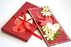 Grußkarten zum Valentinstag / Quilling Grußkarten / Hochzeitsgrußkarte / Liebe Sie Karte / 3d Valentinsgrußkarte / rote Karte / Herzen / 3d Karte ♥