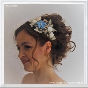 Brautschmuck Haarschmuck Haarreifen Spitze Blüten Gold Blau