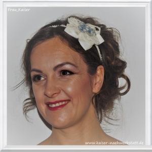 Brautschmuck Haarschmuck Haarreifen Blüte Seide Ivory Spitze Blau
