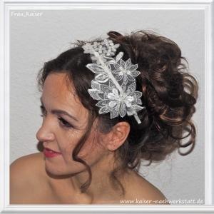 Brautschmuck Haarschmuck Haarreifen Spitze Weiß