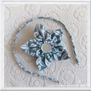 Haarreifen & Haarblüte (mit Clip) Blätter Petrol im Set