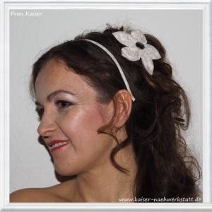 Haarreifen & Haarblüte (mit Clip) Weiß Beige Ranken im Set