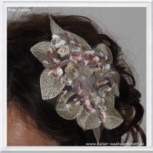 Brautschmuck Haarschmuck Headpiece Spitze Weiß Rosa Gold