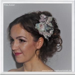 Brautschmuck Haarschmuck Headpiece Spitze Rosa Mint Gold mit kleiner Blüte