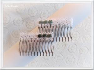 Brautschmuck Haarschmuck Haarkämme Spitze weiß mit Mossachaten im Set