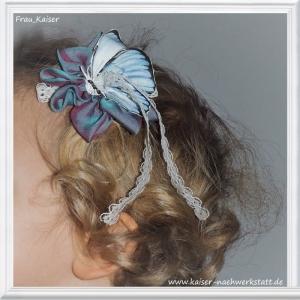 Blumenmädchen Brautschmuck Haarschmuck Headpiece Haarblüte Seide blau lila mit Schmetterling