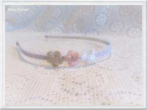 Blumenmädchen Brautschmuck Haarschmuck Haarreifen Spitze Weiß mit 3 Blumen