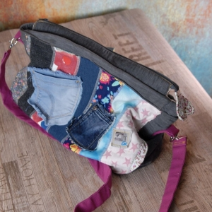 Upcycling ★Jeans und Stoff-Streifen Tasche★  Bunt durch die Welt Unikat