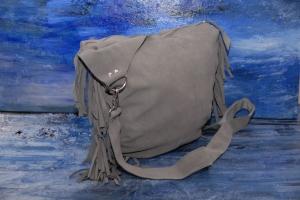 Leder ★graue Leder Tasche mit langen Fransen trifft Pink★ - Handarbeit kaufen