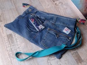 Upcycling ★ SeitenJeansTasche RV Bunt ★ Unikat  - Handarbeit kaufen