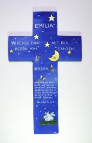 Holzkreuz ★ Glühwürmchen ★ mittelblau - 20 cm handbemalt von Kunstmädel