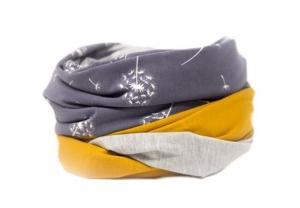 Stillschal XL Loopschal Loop Schal Pusteblumen senfgelb XXL Loopschal Damen Geschenk zur Geburt gelb grau
