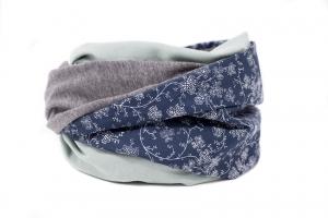 Blumen Stillschal XL Loopschal Loop Schal XXL Loopschal Damen Geschenk zur Geburt blau, grau und mint  - Handarbeit kaufen