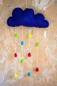 Babymobile aus Filz,,Mobile ♥ happy rain ♥, Wolke, Geburt, filZeit, Taufe , Traumfänger