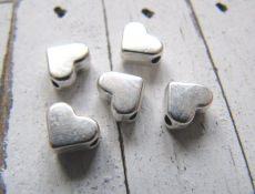 Herz Metallperlen Herzchen nickelfrei 6 mm versilbert