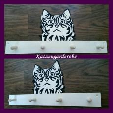 Handgefertigte Tiergarderobe Katze