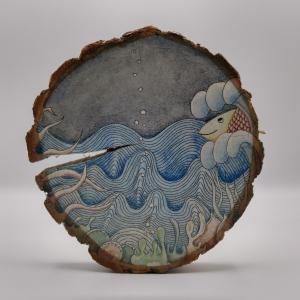 Holzscheibe -Unterwasserwelt-