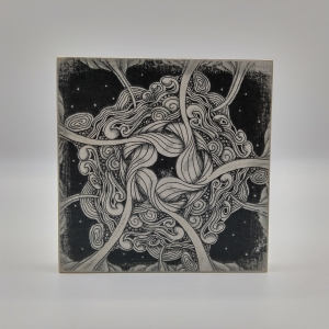 Zeichnung -Wirbel- auf Holz