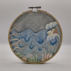 Stickrahmen aus Holz -Kleine Unterwasserwelt-
