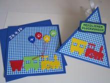 persönliche Karte und Box für ein Geschenk zur Geburt