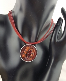 Halskette Satinband weinrot