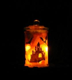 Windlicht Happy Halloween Special Lustige Spukparty mit Gespenstern