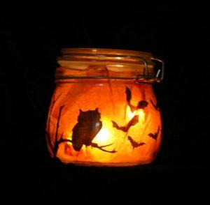Windlicht Happy Halloween Special Eulen-Stilleben