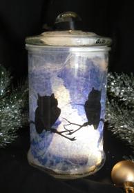 Windlicht Winter Special Duo Eulen im nächtlichen Winterwald - Handarbeit kaufen