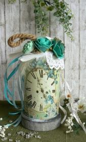 Deko-Glashaube Romantische Zeit mit Schrumpfbanderole Frühling blau - Handarbeit kaufen