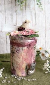 Romantisches Deko-Glas mit Schrumpfbanderole Frühlingsblumen rosé und Lichterkette - Handarbeit kaufen