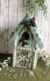 Mixed Media Romantisches Deko-Vogelhaus Shabby Chic in blau - Handarbeit kaufen